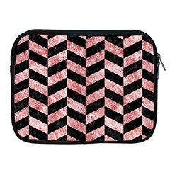 Chevron1 Black Marble & Red & White Marble Apple Ipad Zipper Case by trendistuff