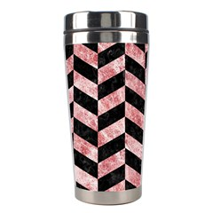 Chevron1 Black Marble & Red & White Marble Stainless Steel Travel Tumbler by trendistuff
