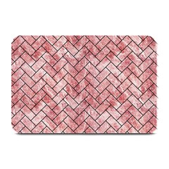 Brick2 Black Marble & Red & White Marble (r) Plate Mat by trendistuff