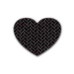 Brick2 Black Marble & Red & White Marble Rubber Heart Coaster (4 Pack) by trendistuff