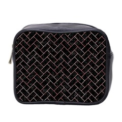 Brick2 Black Marble & Red & White Marble Mini Toiletries Bag (two Sides) by trendistuff
