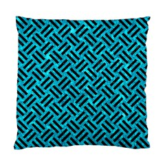 Woven2 Black Marble & Turquoise Marble (r) Standard Cushion Case (two Sides) by trendistuff