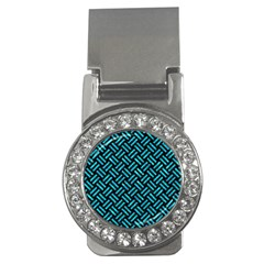 Woven2 Black Marble & Turquoise Marble Money Clip (cz) by trendistuff