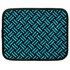 Woven2 Black Marble & Turquoise Marble Netbook Case (large)
