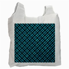 Woven2 Black Marble & Turquoise Marble Recycle Bag (one Side) by trendistuff