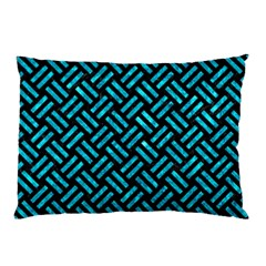 Woven2 Black Marble & Turquoise Marble Pillow Case (two Sides)