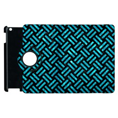 Woven2 Black Marble & Turquoise Marble Apple Ipad 3/4 Flip 360 Case by trendistuff