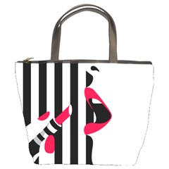 Lipstick Face Girl Bucket Bags by Jojostore