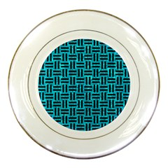 Woven1 Black Marble & Turquoise Marble (r) Porcelain Plate by trendistuff