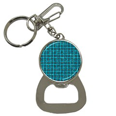 Woven1 Black Marble & Turquoise Marble (r) Bottle Opener Key Chain by trendistuff
