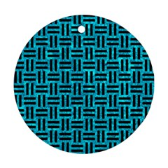 Woven1 Black Marble & Turquoise Marble (r) Round Ornament (two Sides) by trendistuff