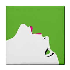 Image Of A Woman s Face Green White Tile Coasters by Jojostore