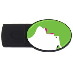 Image Of A Woman s Face Green White Usb Flash Drive Oval (2 Gb)  by Jojostore