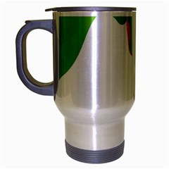 Image Of A Woman s Face Green White Travel Mug (silver Gray)