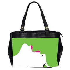 Image Of A Woman s Face Green White Office Handbags (2 Sides)  by Jojostore