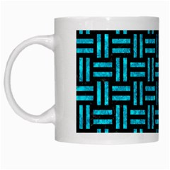 Woven1 Black Marble & Turquoise Marble White Mug by trendistuff
