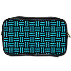 Woven1 Black Marble & Turquoise Marble Toiletries Bag (two Sides) by trendistuff