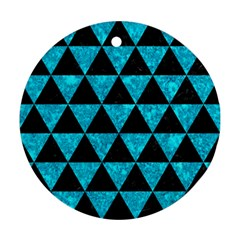 Triangle3 Black Marble & Turquoise Marble Ornament (round) by trendistuff