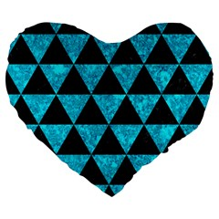Triangle3 Black Marble & Turquoise Marble Large 19  Premium Flano Heart Shape Cushion by trendistuff