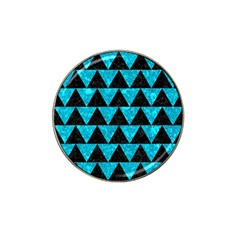 Triangle2 Black Marble & Turquoise Marble Hat Clip Ball Marker by trendistuff