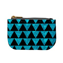 Triangle2 Black Marble & Turquoise Marble Mini Coin Purse by trendistuff