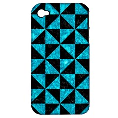 Triangle1 Black Marble & Turquoise Marble Apple Iphone 4/4s Hardshell Case (pc+silicone) by trendistuff