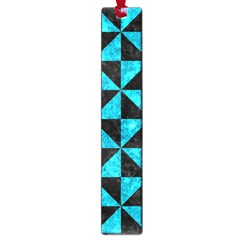 Triangle1 Black Marble & Turquoise Marble Large Book Mark by trendistuff