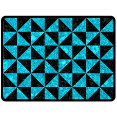 Triangle1 Black Marble & Turquoise Marble Double Sided Fleece Blanket (large) by trendistuff