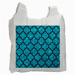 Tile1 Black Marble & Turquoise Marble (r) Recycle Bag (one Side) by trendistuff