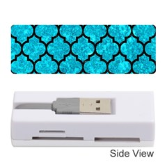 Tile1 Black Marble & Turquoise Marble (r) Memory Card Reader (stick) by trendistuff