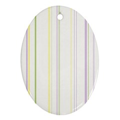 Line Yellow Purple Green Oval Ornament (two Sides)