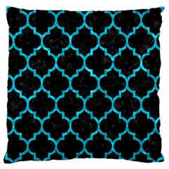 Tile1 Black Marble & Turquoise Marble Large Cushion Case (one Side) by trendistuff
