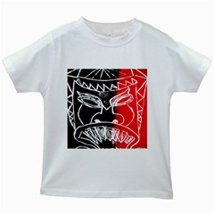 Mask Face Red Black Kids White T Shirts