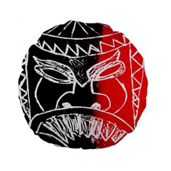 Mask Face Red Black Standard 15  Premium Flano Round Cushions by Jojostore