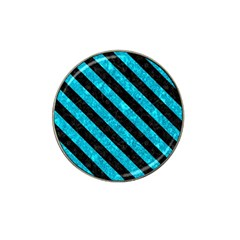 Stripes3 Black Marble & Turquoise Marble (r) Hat Clip Ball Marker by trendistuff