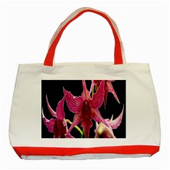 Orchid Flower Branch Pink Exotic Black Classic Tote Bag (red) by Jojostore
