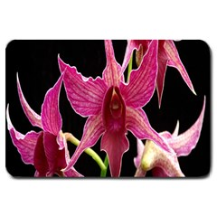 Orchid Flower Branch Pink Exotic Black Large Doormat  by Jojostore