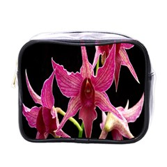 Orchid Flower Branch Pink Exotic Black Mini Toiletries Bags
