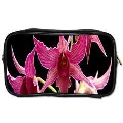 Orchid Flower Branch Pink Exotic Black Toiletries Bags 2 Side