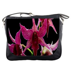 Orchid Flower Branch Pink Exotic Black Messenger Bags