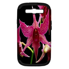 Orchid Flower Branch Pink Exotic Black Samsung Galaxy S Iii Hardshell Case (pc+silicone) by Jojostore