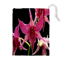 Orchid Flower Branch Pink Exotic Black Drawstring Pouches (extra Large) by Jojostore