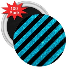 Stripes3 Black Marble & Turquoise Marble 3  Magnet (100 Pack) by trendistuff