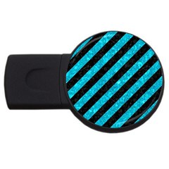 Stripes3 Black Marble & Turquoise Marble Usb Flash Drive Round (4 Gb) by trendistuff