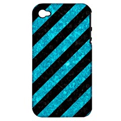 Stripes3 Black Marble & Turquoise Marble Apple Iphone 4/4s Hardshell Case (pc+silicone) by trendistuff