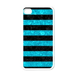 Stripes2 Black Marble & Turquoise Marble Apple Iphone 4 Case (white) by trendistuff