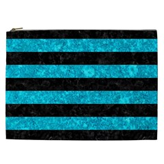Stripes2 Black Marble & Turquoise Marble Cosmetic Bag (xxl) by trendistuff