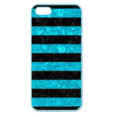 Stripes2 Black Marble & Turquoise Marble Apple Seamless Iphone 5 Case (color) by trendistuff
