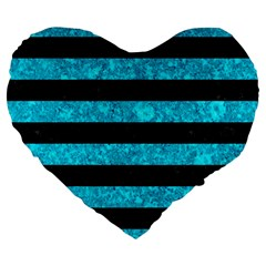 Stripes2 Black Marble & Turquoise Marble Large 19  Premium Flano Heart Shape Cushion by trendistuff