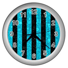 Stripes1 Black Marble & Turquoise Marble Wall Clock (silver) by trendistuff